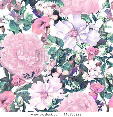 Flowers, leaves, grass. Vintage repeating floral pattern in neutral retro colors. Watercolor