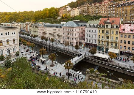 Carlsbad, Czech Republic, October 10, 2015  - Historic City Center Of The  Spa Town Karlovy Vary (ca