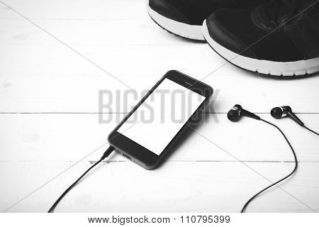 Running Shoes And Phone Black And White Tone Color Style