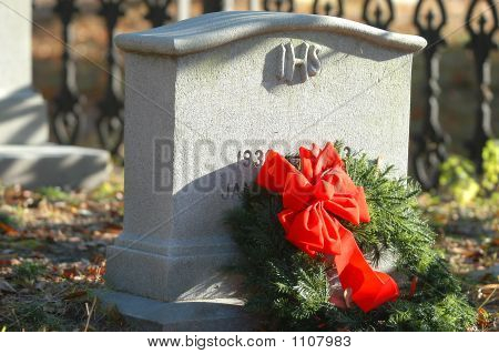 Tombstone And Wreath.