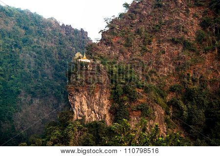 Buddhist Pagoda At Limestone Mountain Near Hpa-an City. Myanmar (burma)
