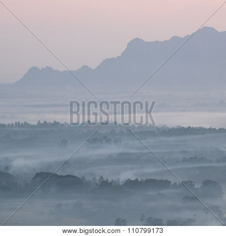 Watercolor View Of Foggy Morning Landscape. Hpa An, Myanmar (burma)