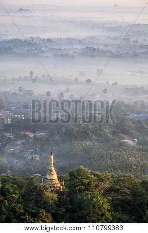 Foggy Morning At Hpa An City With Gabar Lone Pagoda. Myanmar (burma)