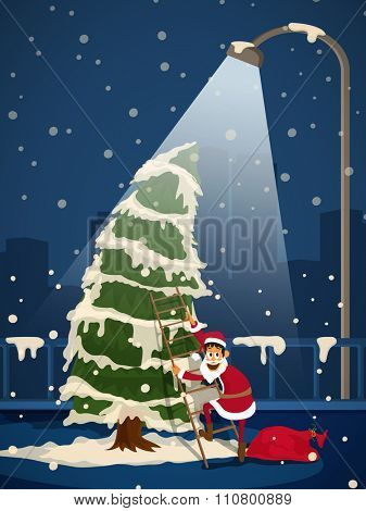 Cute Santa Claus climbing by ladder on big Xmas Tree in street light for Merry Christmas celebration.
