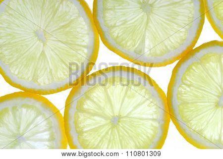 lemon slces back lit background