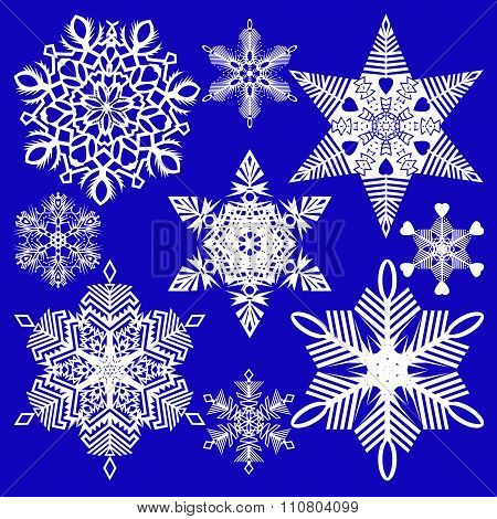 Set Of Isolated Snowflakes