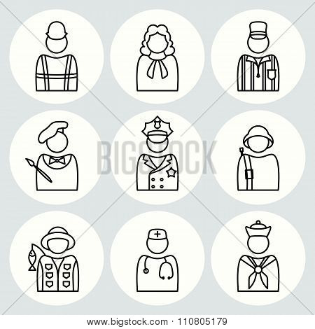 People profession icon set. Judge artist painter referee doctor seaman soldier sailor fisherman buil