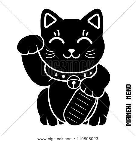Vector Japanese Lucky Cat Illustration, maneki Neko, maneki cat, Dollar cat poster