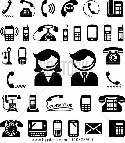 Set of communication / contact us icons. Vector illustration.