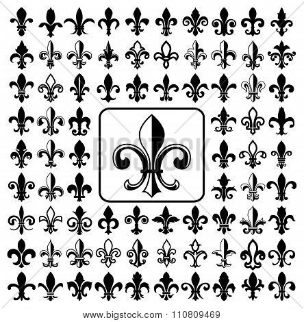 Set of Fleurs-de-lis icons.