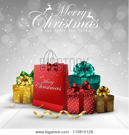 Christmas background bag and gift boxes