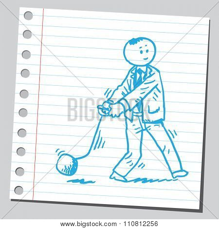 Businessman throwing  hammer ball