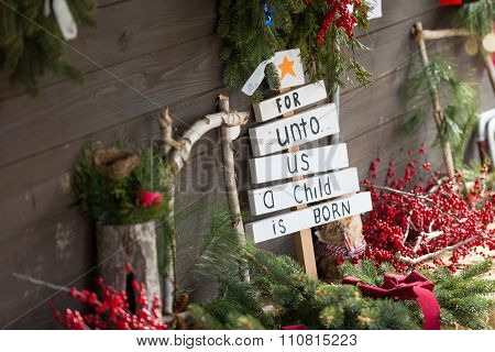 For Unto Us A Child Is Born Christmas Sign