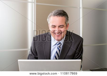 Mature smiling business man on his computer in office