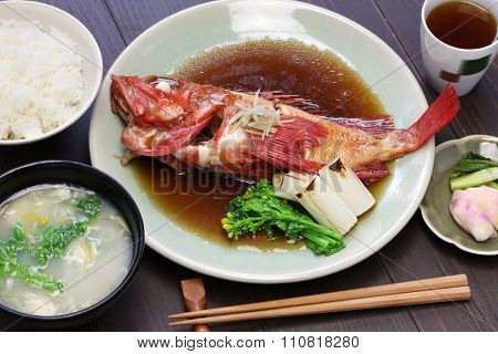 simmered kinki rockfish with rice and miso soup, japanese cuisine
