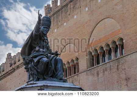 Statue Of Pope Paul V On Cavour Square In Rimini, Italy