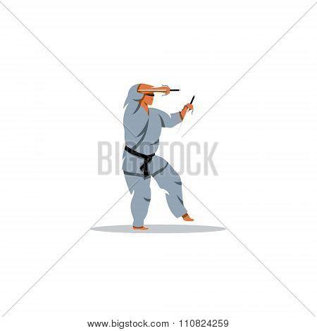 Man karate in kimono holding a pair of sai. Vector Illustration.