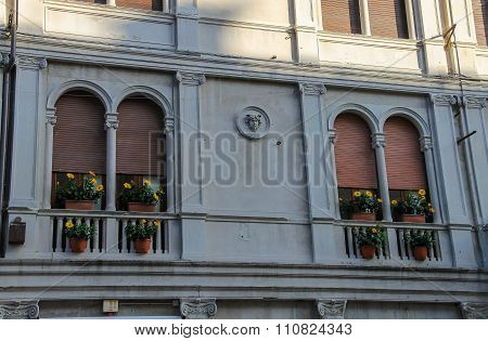 Facade Of Ancient Building On The Main Tourist Street (via Quattro Novembre) In Centre Of Rimini, It