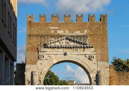 Ancient Arch Of Augustus (arco Di Augusto) In Rimini, Italy