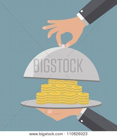 Business life hand opens serve cloche