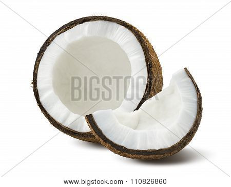 Coconut Pieces Broken Isolated On White Background