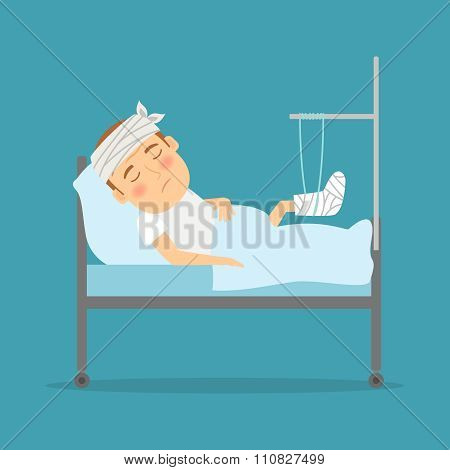 Man with broken leg cartoon illustration