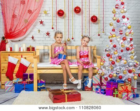 Happy Sister Holding Gifts In Their Hands, And Sit On A Bench In A Christmas Setting