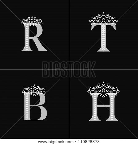 Emblem Letter R, B, T, H With Crown. Monogram Design Elements. Elegant Line Art Logo Design. Busines