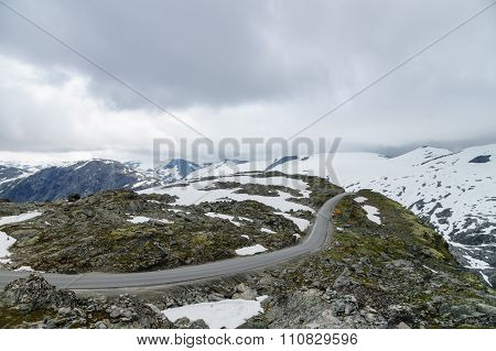 New Highland Road Built In Snowy Mountains Of Norway