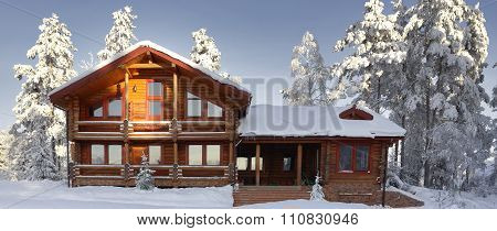 Log Cabin With Large Windows, Balcony And Porch, Modern House.