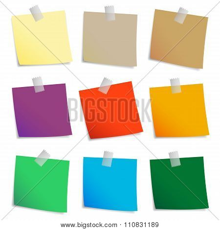 Colored set of sticky notes