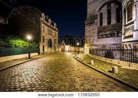 Rue Du Chevalier De La Barre And Sacré-cœur At Night, In Paris, France.
