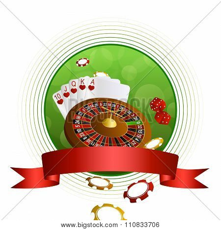 Background abstract green casino roulette cards chips craps red ribbon circle frame vector