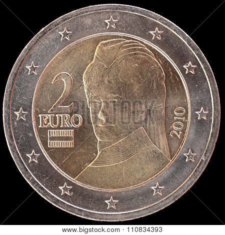 National Side Of Austria Two Euro Coin On Black Background