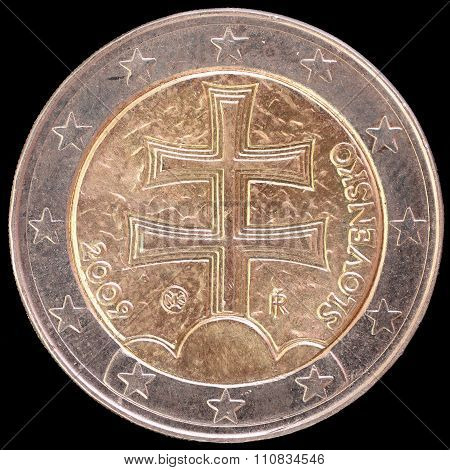 National Side Of Slovakia Two Euro Coin On Black Background