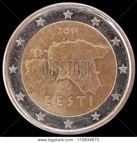 National Side Of Estonia Two Euro Coin On Black Background