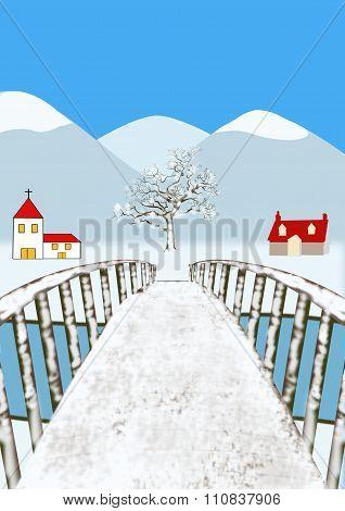 Winter Landscape From Bridge