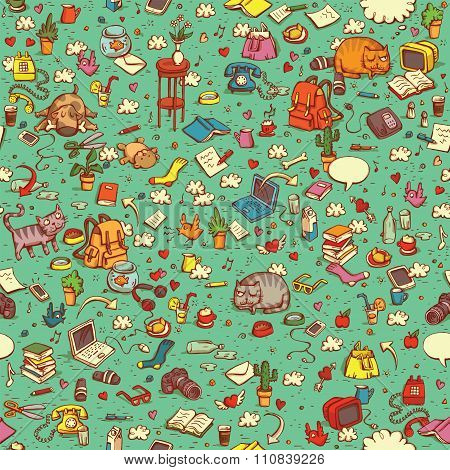 Technological Everyday Objects Seamless Pattern In Colors