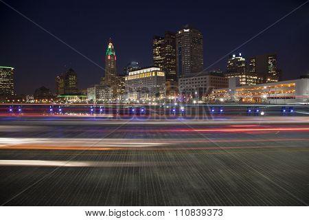 Traffic on The Rich Street Bridge in Columbus, Ohio during the holiday season