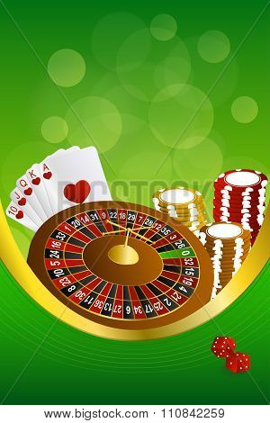 Background abstract green casino roulette cards chips craps frame vertical gold ribbon illustration