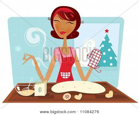 Christmas woman baking cookies in retro kitchen