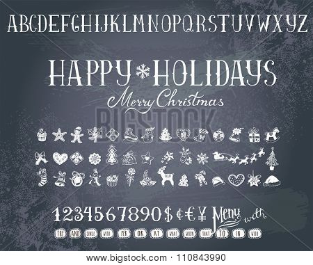Trendy hand-drawn Holiday decorations, alphabet  and  numbers on a blackboard.