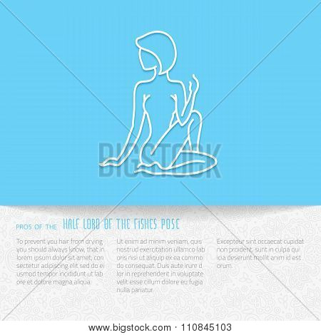 Yoga pose flat line icon vector design of advertising booklet mockup - woman in lord of fishes pose white outline logo with side shadow ornate folded paper brochure with paisley pattern and copy space for yoga and meditation spa school or center poster