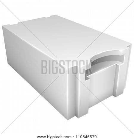 Autoclaved aerated lightweight concrete block vector icon isolated on white background.