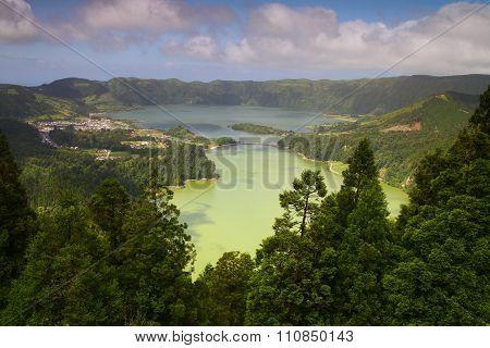 Sete Cidades Crater Lakes, Lagoa Verde And  Lagoa Azul