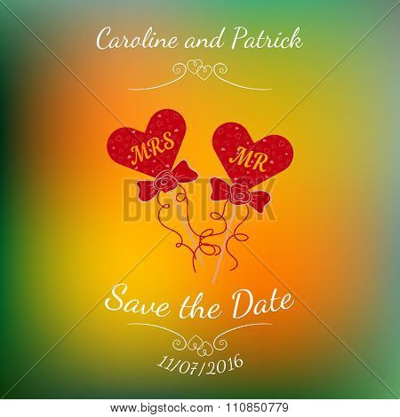 Vector wedding hearts MR and MRS on a stick over colorful blurred background.