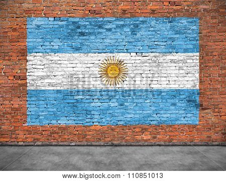 Flag Of Argentina And Foreground