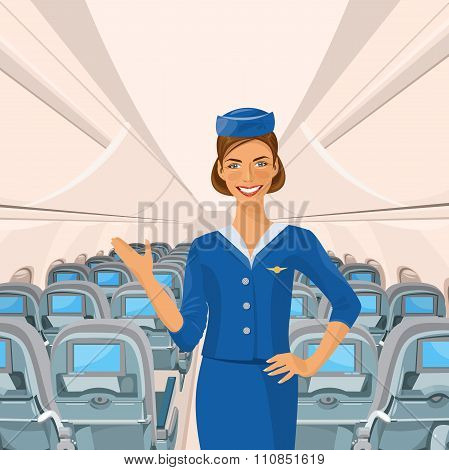 Air hostess. Woman in official clothes.