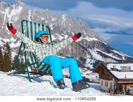 Girl resting in a deckchair
