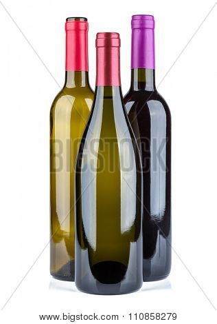 Wine collection - Three wine bottles with blank label. Isolated on white background